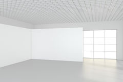 Sitio vacío moderno con la cartelera blanca 3d rinden imagen de archivo