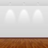 Sitio vacío con la pared blanca y el suelo de madera Imagenes de archivo