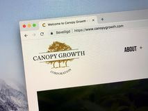 Sitio web de Canopy Growth Corporation foto de archivo