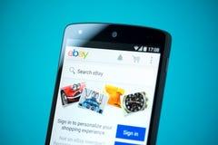 Sitio web de Ebay en el nexo 5 de Google Imagenes de archivo