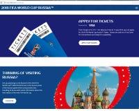 Sitio web de la FIFA de la foto con los boletos para el mundial 2018 de la FIFA Rusia foto de archivo libre de regalías