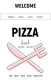 Sitio web de la pizza con la línea del menú, la bifurcación y el estilo mínimo del cuchillo en el fondo blanco Foto de archivo libre de regalías