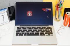 Sitio web de los Apple Computer que muestra a Shigeru Miyamoto sobre estupendo Foto de archivo libre de regalías