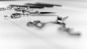 Sitio web del Groomer, del peluquero y del peinado e imagen de impresión de peines profesionales y de tijeras fijados Fotografía de archivo libre de regalías