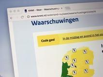 Sitio web del instituto meteorológico holandés real Foto de archivo