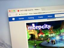 Sitio web del juego MeepCity de Roblox fotos de archivo libres de regalías
