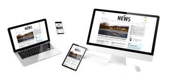 sitio web newsresponsive de los dispositivos del vuelo imágenes de archivo libres de regalías