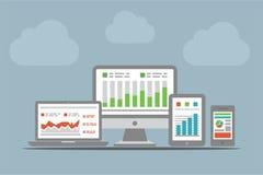 Sitio web y concepto del Analytics del móvil Foto de archivo libre de regalías