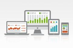 Sitio web y concepto del Analytics del móvil Imagen de archivo