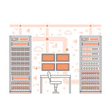 Sitio y centro de datos del servidor Foto de archivo libre de regalías