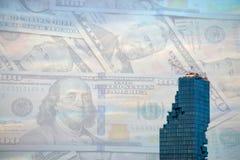 Sitio y dinero de la construcción de edificios de la torre Imagenes de archivo