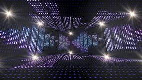 Sitio y ondas de la música, con las notas, animación de las bombillas, representación, fondo, lazo ilustración del vector