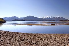 Sitka Bay. View of Sitka Bay in Alaska with volcanoes on background Stock Image