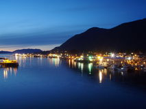 Sitka Harbor at Dusk. Night scene overlooking fishing boat fleet at Sitka Harbor Alaska Royalty Free Stock Photography