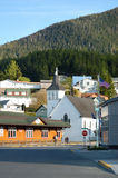 Sitka. USA - May 23, 2013: People are walking in the central part of the Alaskan town of Royalty Free Stock Image