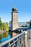 Sitkovska water tower and Manes gallery, Moldau river, Prague (U Royalty Free Stock Photos