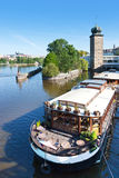 Sitkovska water tower and Manes gallery, Moldau river, Prague (U Royalty Free Stock Photography