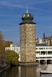 Sitkovska water tower on Vltava river in Prague Stock Image