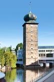 Sitkovska wieża ciśnień i grzywy galeria, Moldau rzeka, Praga (U Obrazy Stock