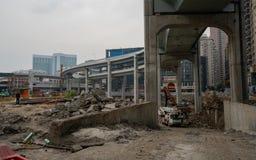 Sito aereo urbano della costruzione di strade a Wuhan Cina immagini stock libere da diritti