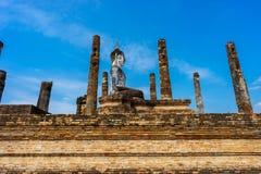 Sito antico Sukhothai del patrimonio mondiale della statua di Buddha storico Fotografia Stock Libera da Diritti