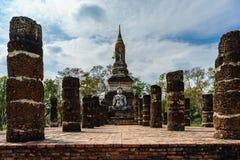 Sito antico Sukhothai del patrimonio mondiale della statua di Buddha storico Fotografia Stock