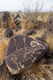 Sito del petroglifo di tre fiumi Fotografie Stock Libere da Diritti