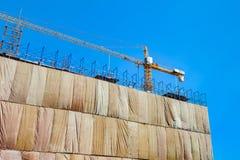 Sito della costruzione di edifici con il macchinario della torre della gru fotografia stock libera da diritti