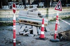 Sito della costruzione di strade Fotografia Stock