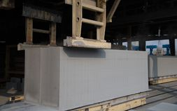 Sito di produzione del blocco in calcestruzzo aerato Fotografia Stock Libera da Diritti