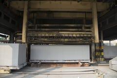 Sito di produzione del blocco in calcestruzzo aerato Fotografia Stock