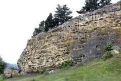 Sito Duntroon di arte della roccia di Takiroa dell'affioramento del calcare Immagini Stock Libere da Diritti