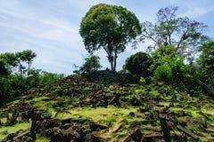 Sito megalitico di Gunung Padang in Cianjur, Java ad ovest, Indonesia immagini stock libere da diritti