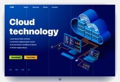 Sito Web che fornisce il servizio di tecnologia moderna della nuvola illustrazione vettoriale