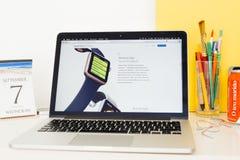 Sito Web dei calcolatori Apple che montra l'allenamento app Fotografia Stock