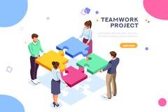 Sito Web della pagina di atterraggio di seo di web di progetto di lavoro di squadra illustrazione di stock
