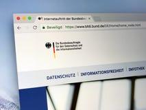 Sito Web di commissario federale tedesco per protezione dei dati e libertà di informazione Immagine Stock