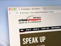 Sito Web di crimestoppers del ` s della Nuova Zelanda Fotografie Stock