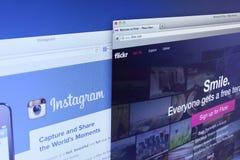 Sito Web di Instagram e di Flickr Immagini Stock Libere da Diritti