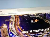 Sito Web di Tiger Beer fotografia stock libera da diritti