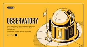 Sito Web isometrico di vettore dell'osservatorio astronomico illustrazione vettoriale