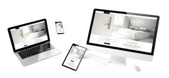 sito Web rispondente del grande hotel dei dispositivi di volo fotografie stock libere da diritti