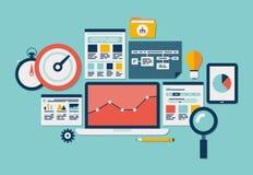Sito Web SEO ed icone di analisi dei dati Fotografia Stock Libera da Diritti