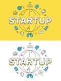 Sito Web STARTUP piano lineare del globo di successo di affari royalty illustrazione gratis