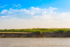 Sitowie na Irrawaddy rzece, Mandalay, Myanmar, Birma Odbitkowa przestrzeń dla teksta obrazy royalty free