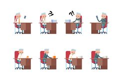 Sits sad, thoughtful. phone does not ring, a lot. Of paperwork. elderly businessman. cartoon character set Royalty Free Stock Images