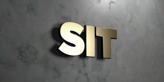 Sitt - guld- tecken som monteras på den glansiga marmorväggen - den 3D framförda fria materielillustrationen för royalty royaltyfri illustrationer