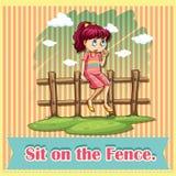 Sitt på staketet vektor illustrationer