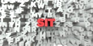 SITT - Röd text på typografibakgrund - 3D framförde fri materielbild för royalty stock illustrationer
