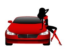 sitta för bilflickor Arkivfoton